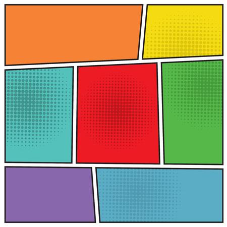 copertine libri: Stile popart Comics vuoto modello di layout sfondo illustrazione vettoriale Vettoriali