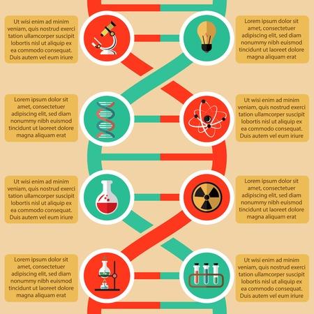 radioactive sign: Elementos de F�sica y Qu�mica infogr�ficas con �tomo radiactivo signo ilustraci�n estructura vaso microscopio vector Vectores