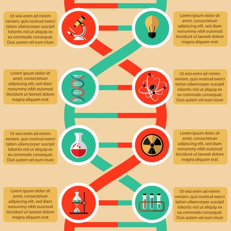 dna test: Physics and chemistry infographic elements with radioactive sign atom structure beaker microscope vector illustration Illustration