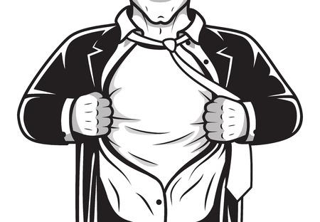 Blanco y negro cómico superhéroe masculino en traje y corbata ilustración abriendo camisa de estampado de la plantilla de vector Ilustración de vector