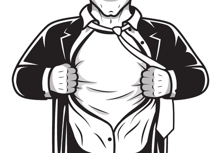Black and white comic male super hero in costume and tie opening shirt print template vector illustration