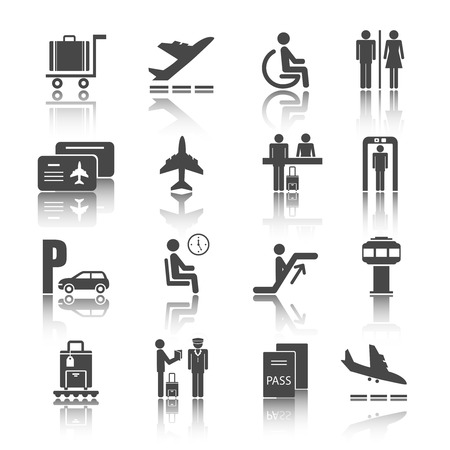 Black flat shadowed airport travel icons set with airplane luggage passenger isolated vector illustration Vector