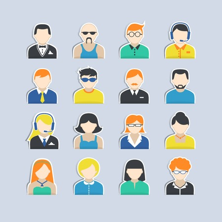 pictogram man: Avatar icons stickers users profile portrait set isolated vector illustration