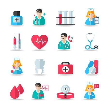 Medical healthcare icons set of heart tooth pill syringe isolated vector and doctor avatars illustration Vector