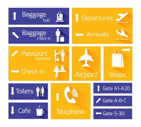 airport lounge: Airport business navigation infographic design elements with arrows and flight arrival departure symbols vector illustration Illustration