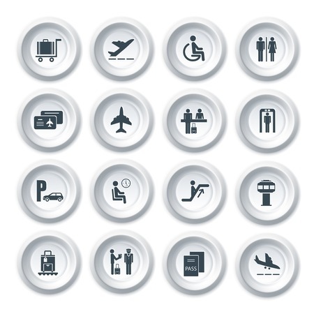 air traffic: Business airport travel button icons set with plane security check baggage control isolated vector illustration
