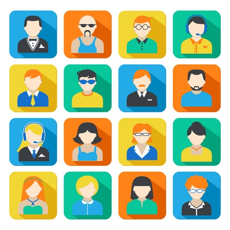 informal: Avatar pictograms social networks users colorful square icons collection flat isolated vector illustration Illustration
