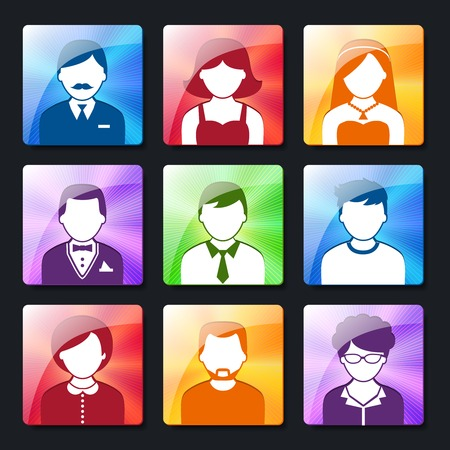 employe: Social networks avatar pictograms of male and female user profiles on radiating background icons collection isolated vector illustration Illustration