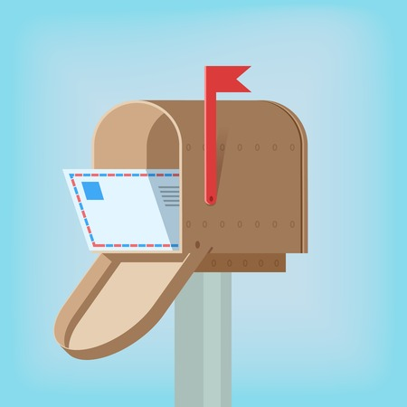 metal mailbox: Postal mail box with letter inside design template vector illustration