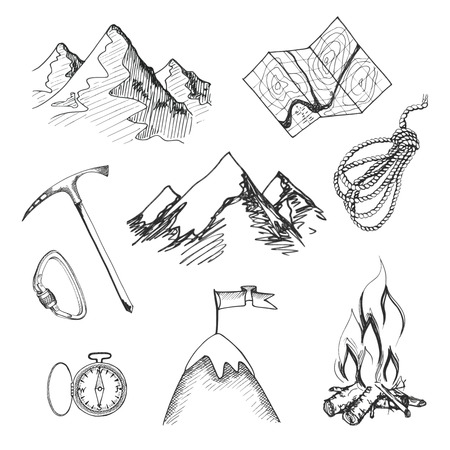 ice climbing: Mountain climbing camping decorative icon set with map rope compass campfire isolated vector illustration