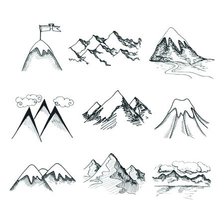 Dibujado a mano la nieve de la montaña de hielo encabeza iconos decorativos aislados ilustración vectorial Ilustración de vector