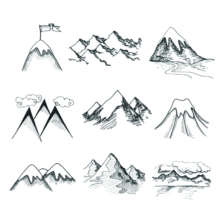 hill: Hand drawn snow ice mountain tops decorative icons isolated vector illustration