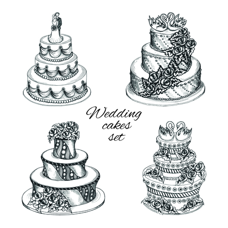 wedding cake: Set of sweet wedding celebration cakes with decoration flower garland swans and couple isolated vector illustration Illustration