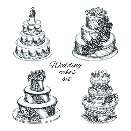 Set von süßem Kuchen Hochzeitsfeier mit Dekoration Blumengirlande paar Schwäne und isolierten Vektor-Illustration Standard-Bild - 27595552