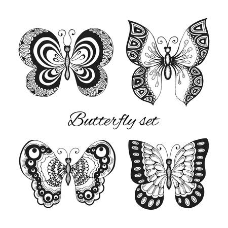 Ensemble de papillons de style de tatouage noir et blanc avec des ailes ornées illustration vectorielle isolé Banque d'images - 27595553