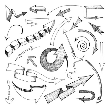 Hand pencil drawn arrows icons set flat isolated vector illustration Vector
