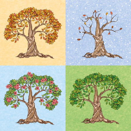 four hands: Four seasons summer autumn winter spring  tree wallpaper vector illustration Illustration