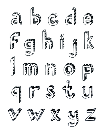 lower: Sketch hand drawn 3d alphabet of small lower case letters isolated vector illustration