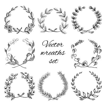 Sketch hand drawn traditional winning laurel branch wreaths set isolated vector illustration Illustration