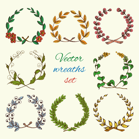 Sketch colored hand drawn vintage royal heraldic leaf wreaths set isolated vector illustration Vector