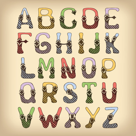 Sketch hand drawn colored alphabet with hatch and lozenge ornament font letters isolated vector illustration Vector