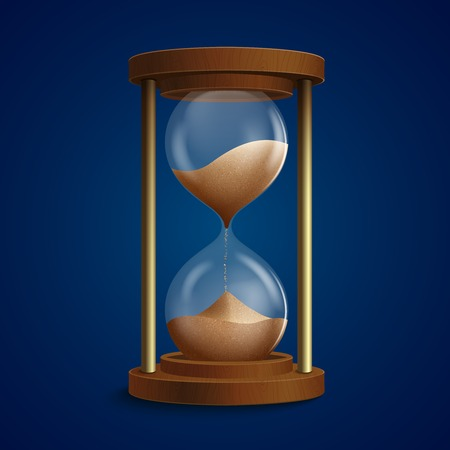 Retro hourglass clock to measure time using sand flow background vector illustration Vector