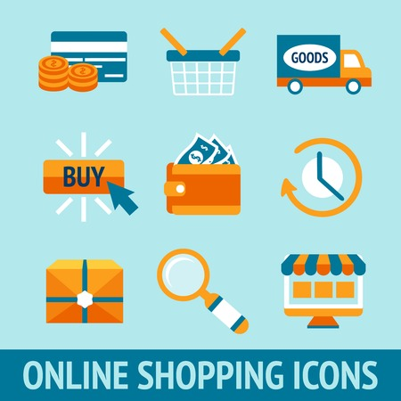Colored pixel icons set for online shopping of wallet delivery truck credit card cash vector illustration Vector
