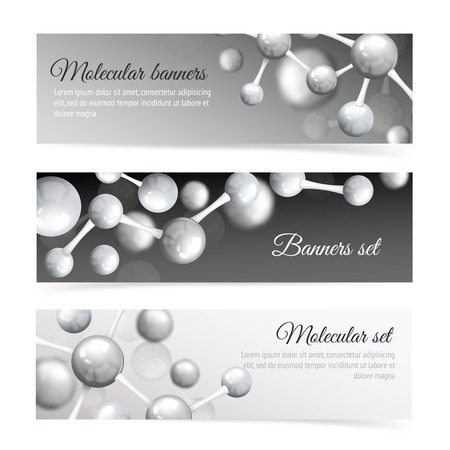 atomic structure: Black and white 3d physics abstract atomic structure molecule model banner set vector illustration