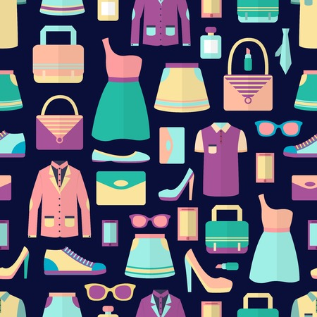 clutch cover: Male and female fashion stylish casual shopping accessory seamless pattern vector illustration