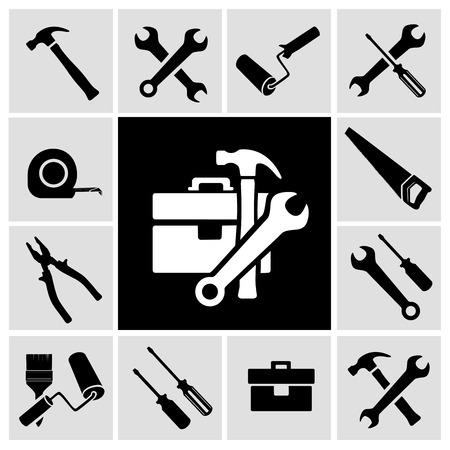 A collection of black house maintenance or renovation working tools isolated icons set of hammer wrench screwdriver and measuring tape vector illustration Иллюстрация