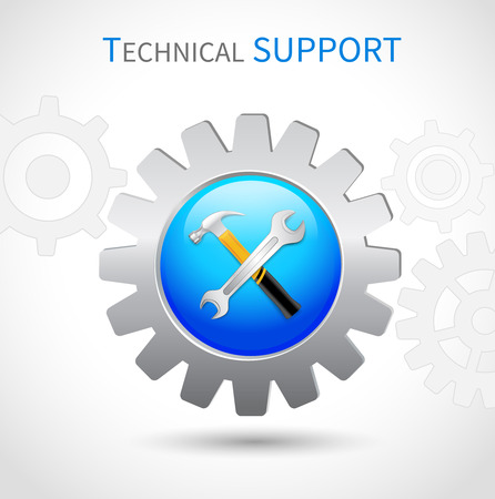 Technical support toothed ring with hammer and spanner wrench web symbol icon Vector