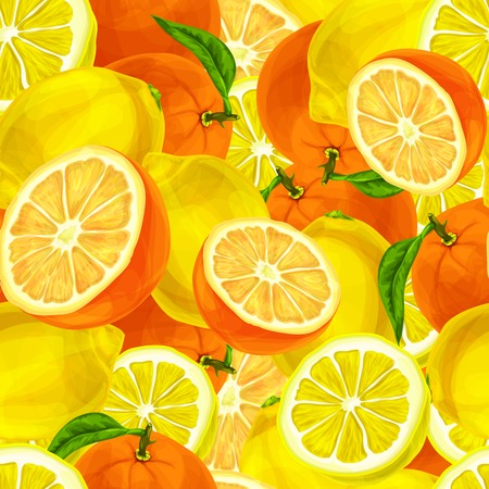 mellow: Seamless sliced juicy cut whole lemons and oranges with leaves pattern background vector illustration