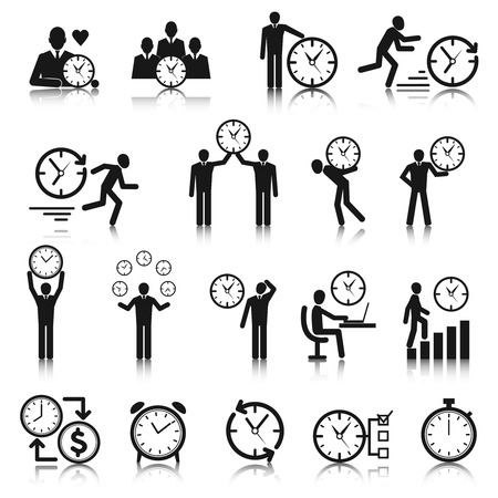 business man vector: Business man with clock time management icons set vector illustration Illustration