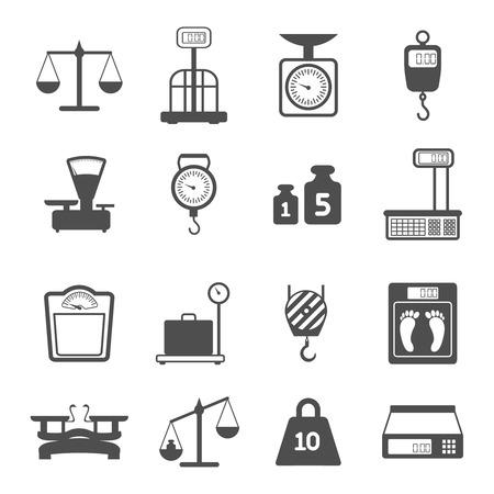 balanza en equilibrio: Escalas del peso para la medición aislada de compras farmacia comercio ilustración vectorial Vectores