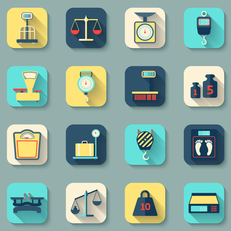 balance scale: Flat decorative icons set of weight scales tools instruments isolated vector illustration