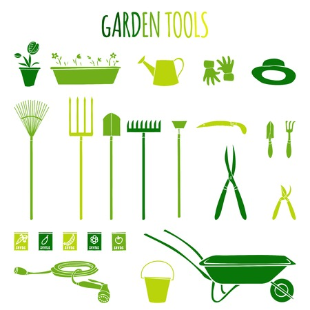 barrow: Garden related  tools and accessories with plants cartoon pictograms set isolated vector illustration