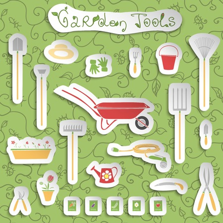 Decorative stickers collection of garden outdoors tools and accessories set with seeds and flowers vector illustration Vector