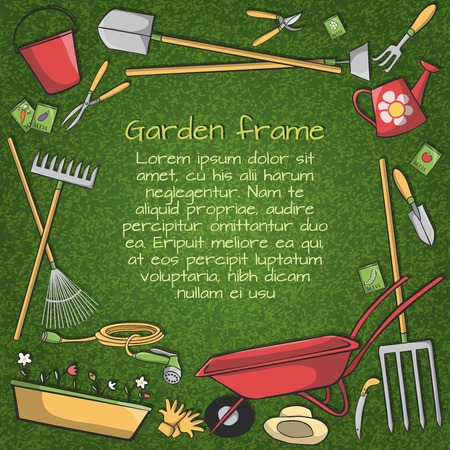 Decorative frame of garden accessories instruments and tools on green background vector illustration Vector