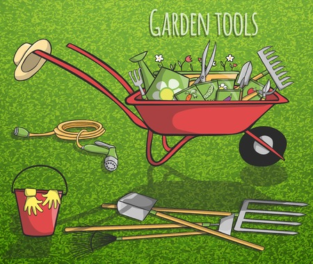 Garden tools and instruments collection concept poster with accessories in barrow on grass background vector illustration Vector