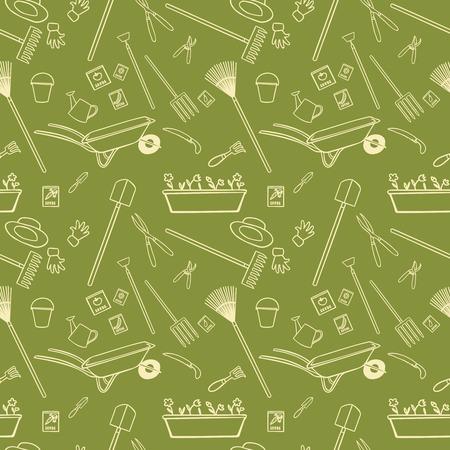 Decorative garden tools seamless wallpaper white on green pattern vector illustration Vector