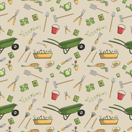 Decorative garden tools seamless wallpaper or background retro print pattern vector illustration Vector