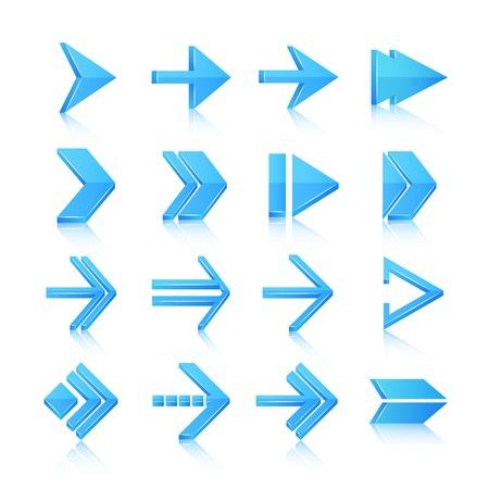flèche double: Flèches bleues symboles pictogrammes icônes, ensemble isolé illustration vectorielle Illustration