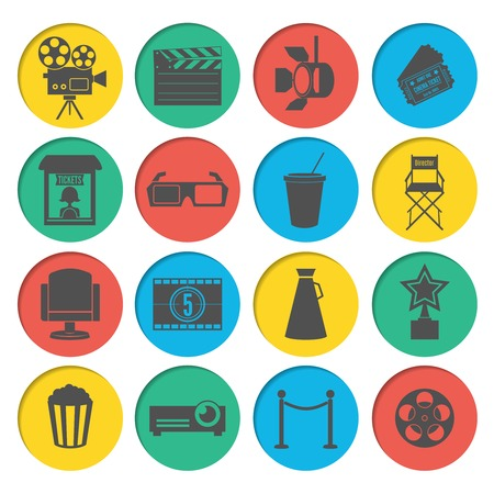 director chair: Cinema movie ticket office director chair filmstrip loudspeaker icons elements set vector illustration