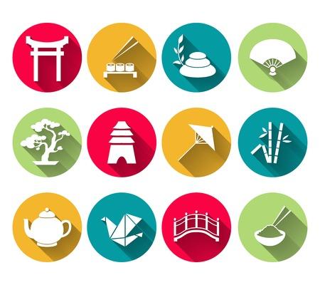 Japanese symbols icons set of sushi bamboo rice tea pot vector illustration