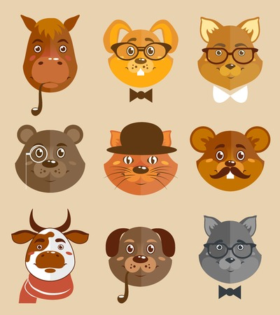 horse pipes: Decorative animal hipsters icons set cat horse dog and bear in hats and bow ties vector illustration.