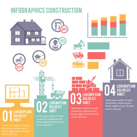 Construction engineering and building infographic elements set vector illustration Illustration
