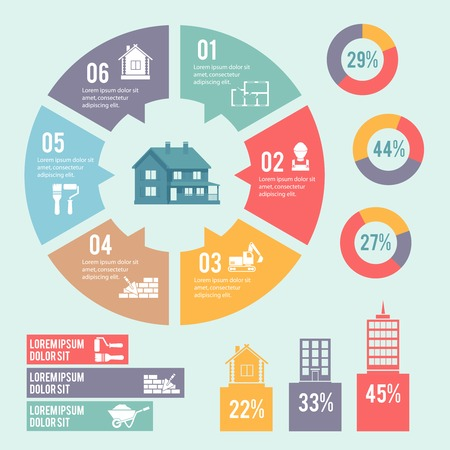 property: Construction engineering and building infographic elements with circle diagram vector illustration