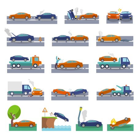 tow: Car crash and accidents icons set with collision fire flood insurance events vector illustration