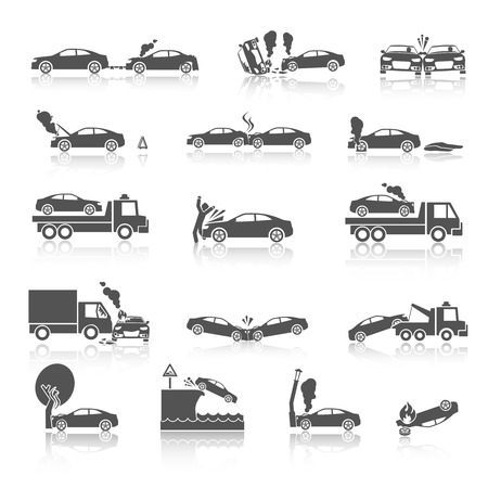 collision: Black and white car crash and accidents icons with pedestrian warning sign and tow truck vector illustration