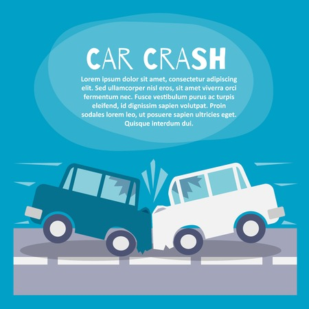 car security: Doodle auto accident poster with two cars crash on a street vector illustration